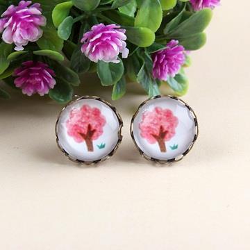 春漾櫻紅.古銅花邊耳環