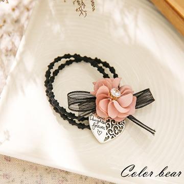 【卡樂熊】氣質花朵水鑽蝶結愛心雙圈髮束-粉色