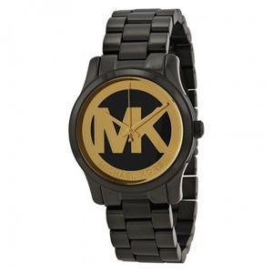 MICHAEL KORS 黑色金色MK大LOGO不銹鋼腕錶 (現貨+預購)