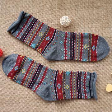 雪花圖騰(灰)卷邊中筒襪-韓國KIKI