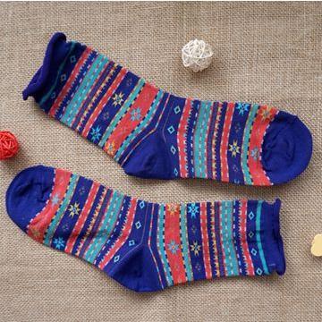 雪花圖騰(紫)卷邊中筒襪-韓國KIKI