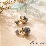 【卡樂熊】質感金屬花朵水晶泡泡糖耳環-黑色