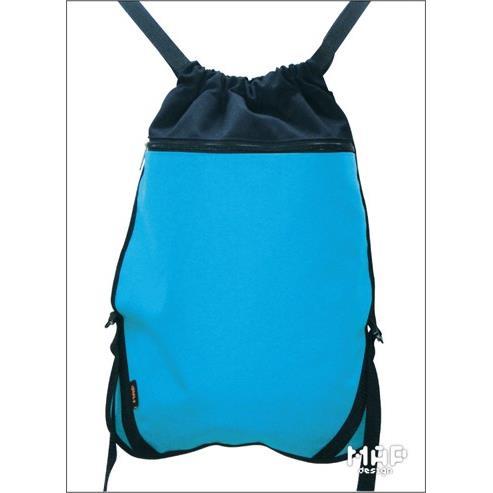 平織帶可調式束口後背包-藍色
