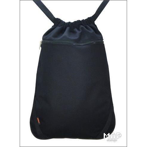 平織帶可調式束口後背包-黑色