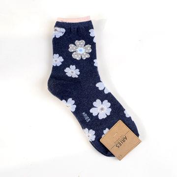 深藍.Aries甜美花朵中筒襪