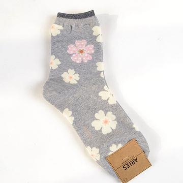 灰粉.Aries甜美花朵中筒襪