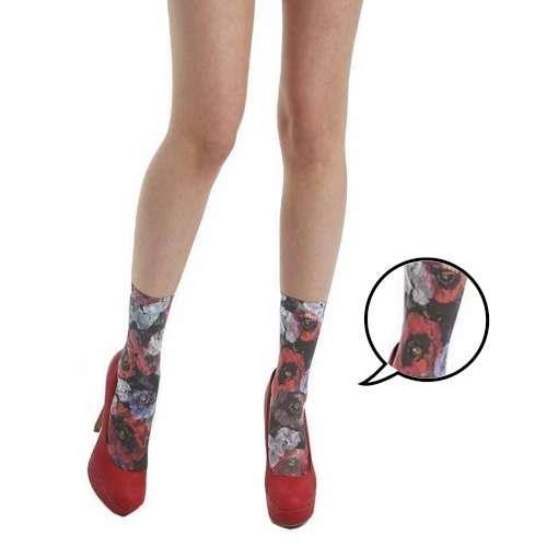 【摩達客】英國進口義大利製Pamela Mann浪漫紅罌粟花圖紋彈性短襪/腳踝襪