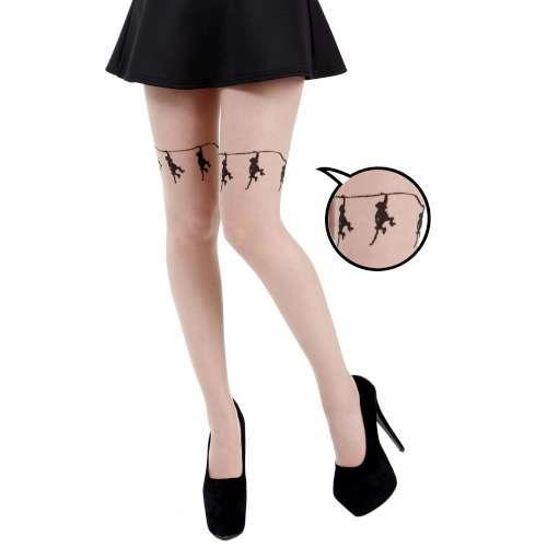 【摩達客】英國進口義大利製Pamela Mann黑色吊猴子透明彈性褲襪
