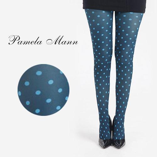 英國進口義大利製【Pamela Mann】藍綠小圓點彈性褲襪