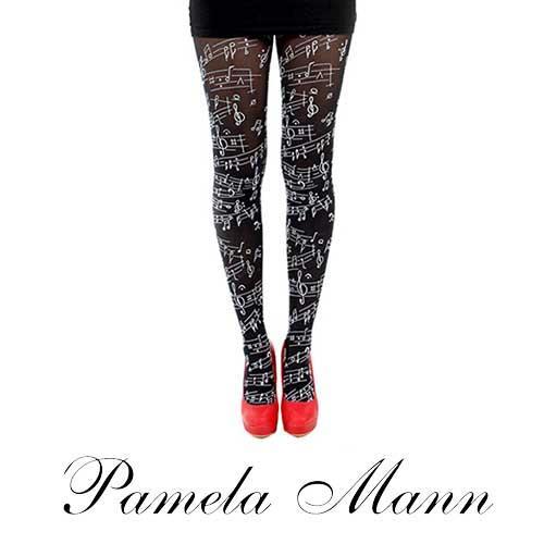英國進口義大利製【Pamela Mann】美妙音符印紋彈性褲襪