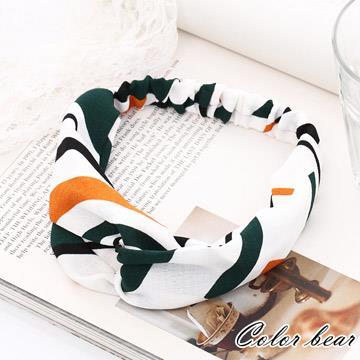 【卡樂熊】造型雙色條紋鬆緊交叉髮帶-白色