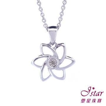 Jstar 璽星-925純銀鑽石項鍊-花朵