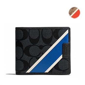 COACH C LOGO 壓紋PVC雙色橫條男用短夾 (現貨+預購)