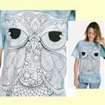 【摩達客】(預購) 美國進口ColorWear 一號貓頭鷹 禪繞畫療癒藝術 環保短袖T恤