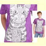 【摩達客】(預購) 美國進口ColorWear 貓咪喵喵 禪繞畫療癒藝術 環保短袖T恤
