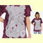 【摩達客】(預購) 美國進口ColorWear 花兒盛開 禪繞畫療癒藝術 環保短袖T恤