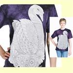 【摩達客】(預購) 美國進口ColorWear 天鵝 禪繞畫療癒藝術 環保短袖T恤