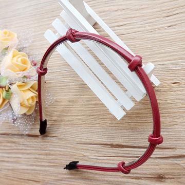時尚皮革繩結髮箍‧酒紅