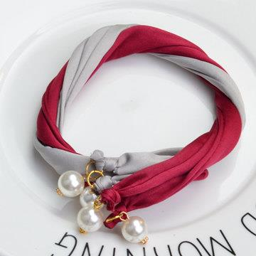珍珠造型雙股盤髮器‧灰+酒紅