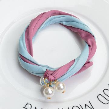 珍珠造型雙股盤髮器‧淺藍+棗紅