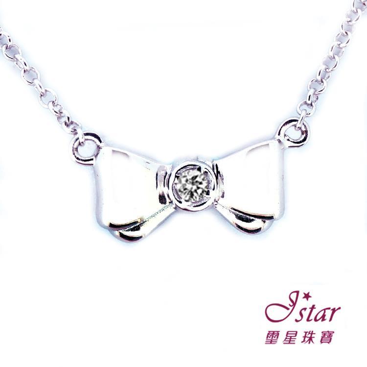Jstar 璽星珠寶-925純銀鑽石項鍊-蝴蝶結