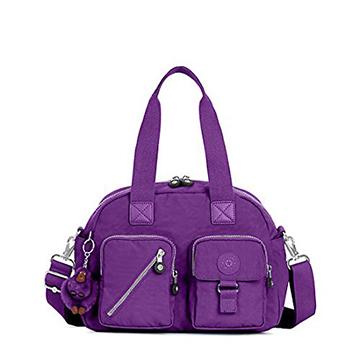 KIPLING 多口袋尼龍手提側背包-紫色 (現貨+預購)