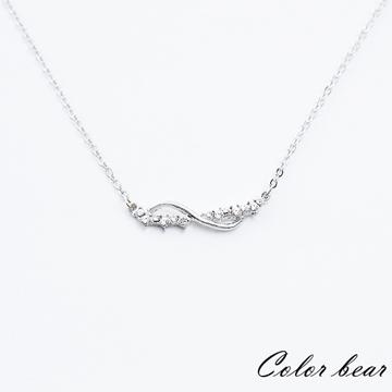 【卡樂熊】波浪線條排鑽短鍊/鎖骨鍊-銀色
