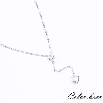 【卡樂熊】搖擺不定的心鑽短鍊/鎖骨鍊-銀色