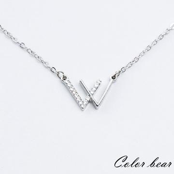 【卡樂熊】相遇W水鑽造型短鍊/鎖骨鍊-銀色