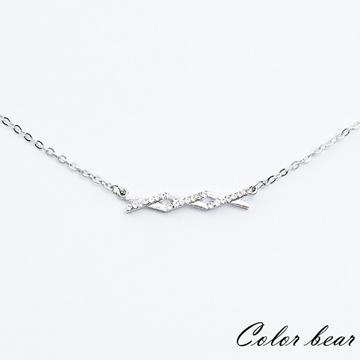 【卡樂熊】交織的線條排鑽短鍊/鎖骨鍊-銀色