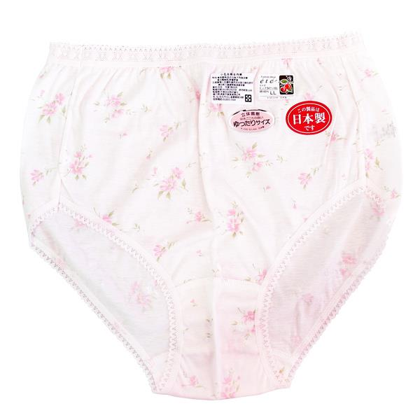 日本純棉女用三角褲-粉色小花-3件組