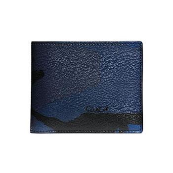 COACH 迷彩PVC皮革短夾-藍黑 (現貨+預購)