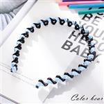 【卡樂熊】超彈性不斷裂條紋波浪纏繞造型髮箍-點點藍