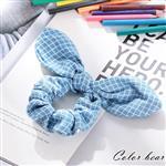 【卡樂熊】質感丹寧兔耳幾何印花造型鬆緊圈束-格紋兔耳