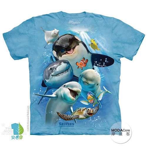 【摩達客】(預購) 美國進口The Mountain 海洋動物哦耶 純棉環保短袖T恤