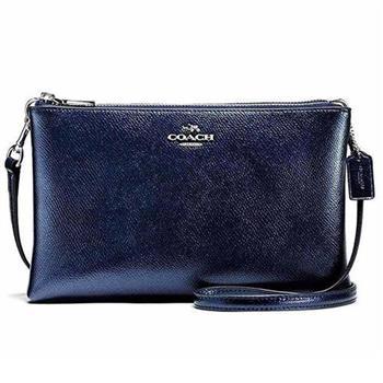 COACH 鵝卵石紋皮革雙層斜背包-藍 (現貨+預購)
