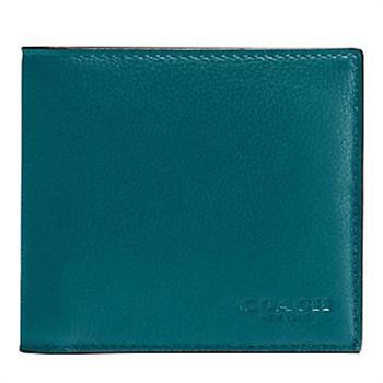 COACH 經典LOGO烙印防刮皮革簡約短夾-藍綠 (現貨+預購)