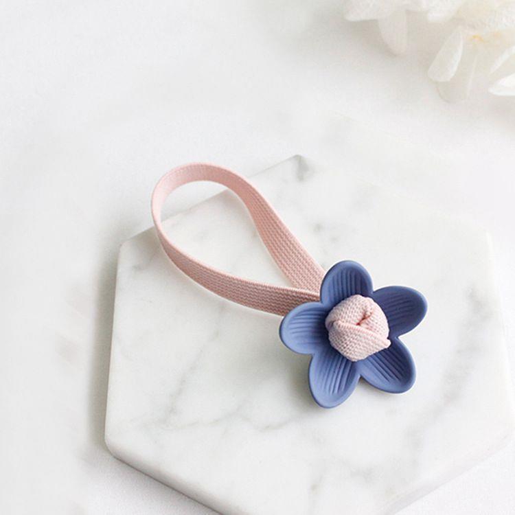 甜美花朵(粉藍)寬版髮圈