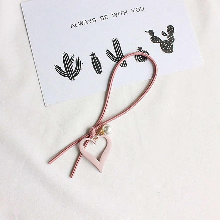 愛心珍珠墜飾(粉)結繩髮圈