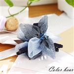 【卡樂熊】立體花縫珠歐根紗造型抓夾-藍色