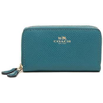 COACH 防刮燙印LOGO雙層卡夾零錢包-藍綠(現貨+預購)