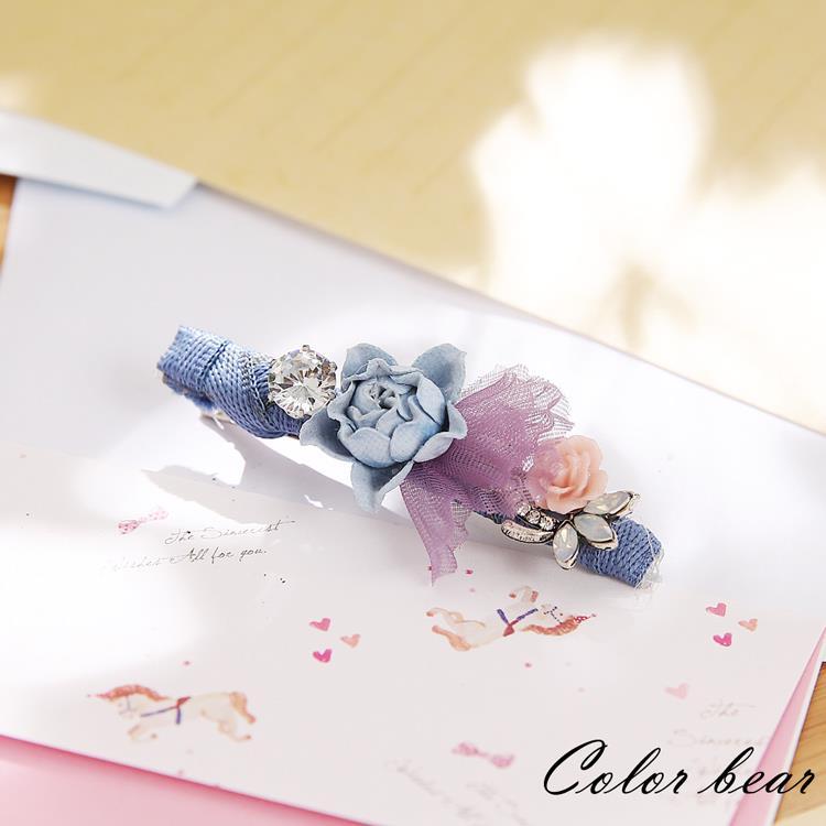 【卡樂熊】優雅花精靈網紗造型壓夾-湛藍色