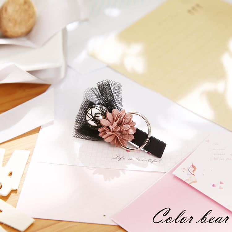 【卡樂熊】古典茉莉珍珠圓環造型壓夾-粉黑色