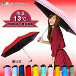 【TDN】水玉巴洛克羽量遮光雙印口紅傘-蕾絲邊-黑膠不透光-防風防曬B6245A