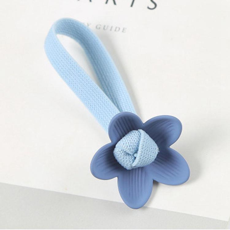 甜美花朵(天藍)寬版髮圈