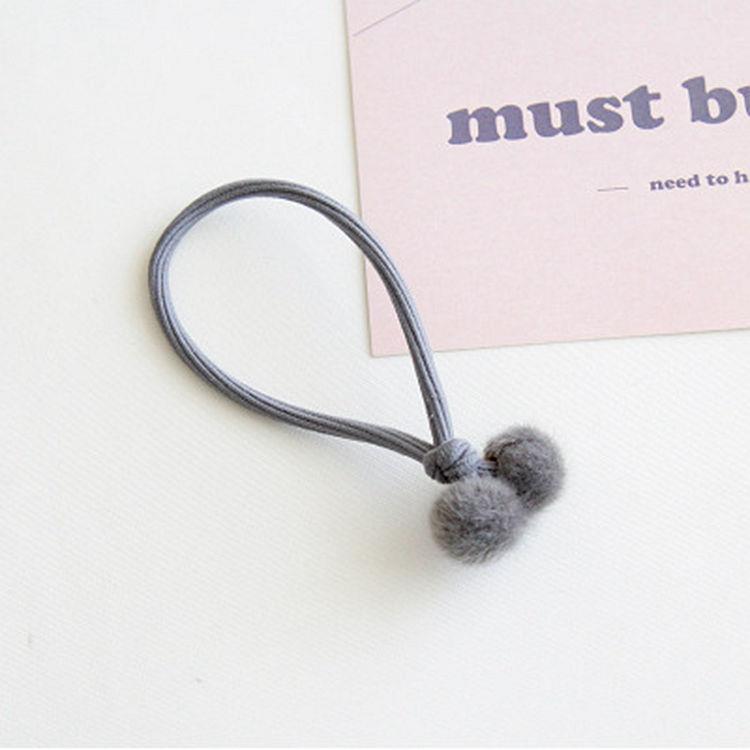 暖心小絨球繩結髮圈(魅力灰)