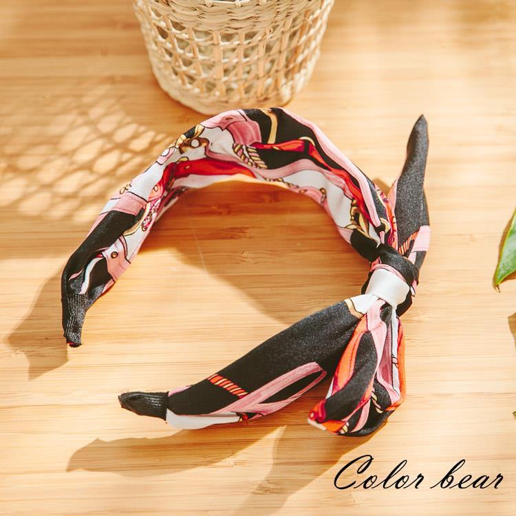 【卡樂熊】時尚寬版炫麗造型髮箍-粉黑色