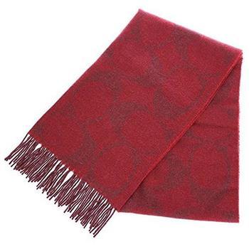 COACH 大C LOGO羊毛混兔毛絲絨保暖長圍巾-紅 (現貨+預購)