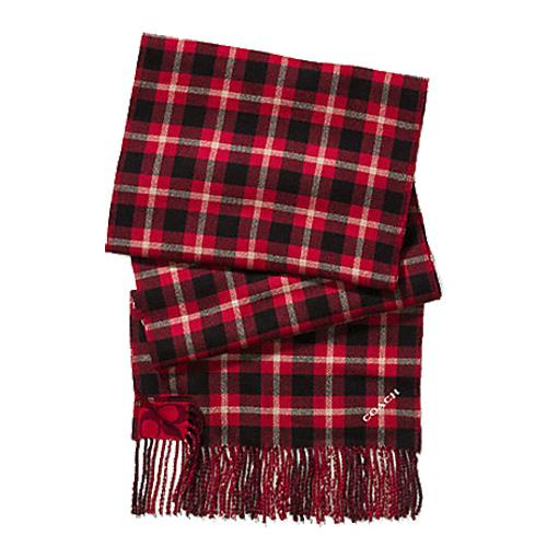 COACH 保暖羊毛流蘇格紋圍巾-紅色 (現貨+預購)