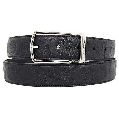 COACH 壓紋皮革雙面皮帶-黑色 (現貨+預購)